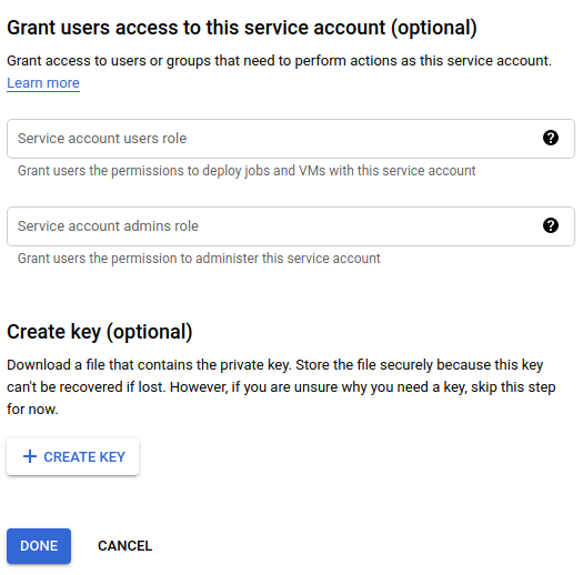 """Campos para os papéis de usuários da conta de serviço e de Administrador da conta de serviço, botão """"Criar chave"""""""