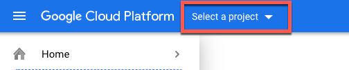 GoogleCloud sélectionne une option de projet en surbrillance.