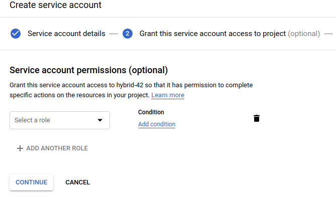 Create service account with no permissions selected