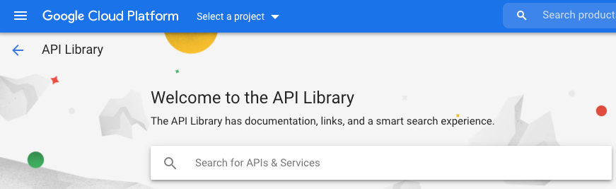 Cuadro de búsqueda de la biblioteca de API