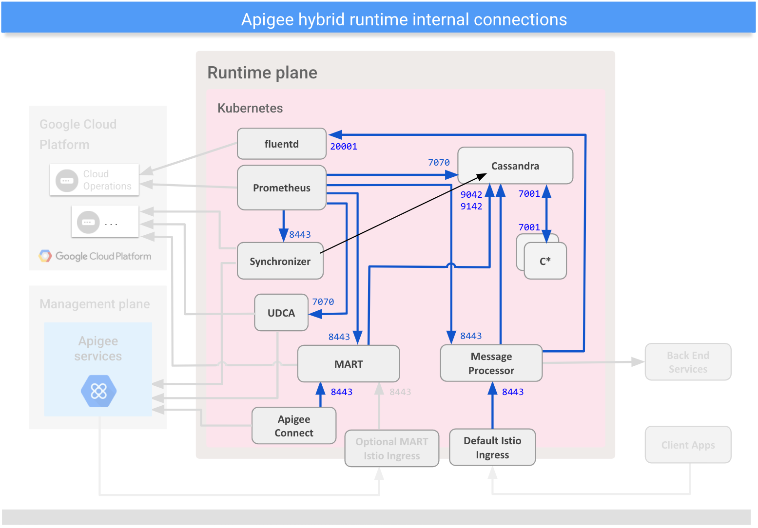 Shows connections between internal components on the hybrid runtime plane