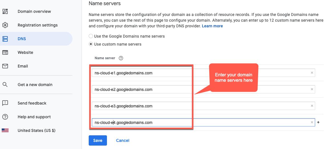 Dominio de Google. Se destaca Usar servidores de nombres personalizados