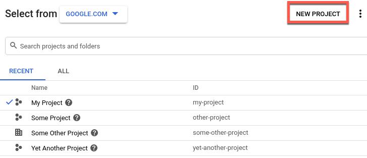 Selector de proyectos de GoogleCloud con la opción de proyecto nuevo destacada.