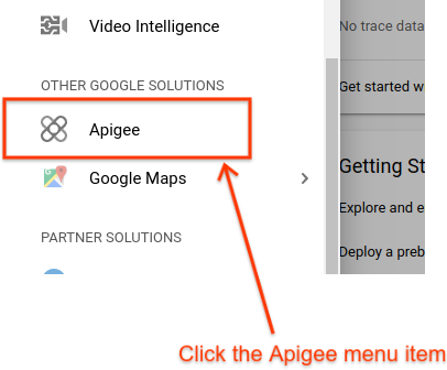 The Apigee option in the GCP Console's left hand navigation