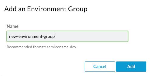 Se agrega el diálogo de grupo de entornos en el que se muestra el campo Nombre del campo en blanco