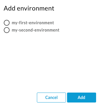 Cuadro de diálogo Agregar entorno, en el que se enumeran los entornos disponibles