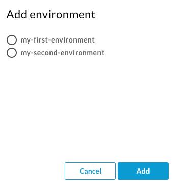 사용 가능한 환경을 나열하는 환경 추가 대화상자
