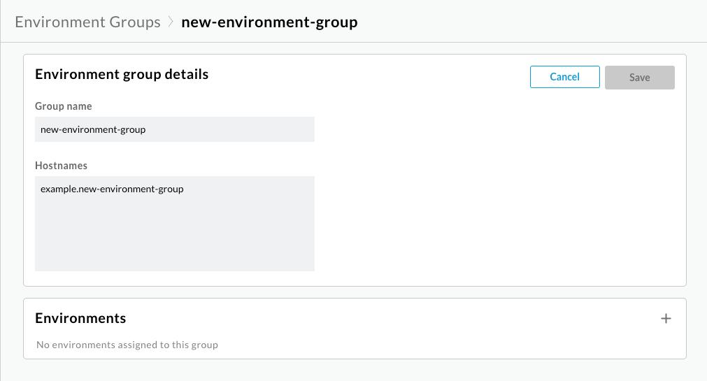 Ventana Editar grupo de entornos que muestra que no hay entornos asignados