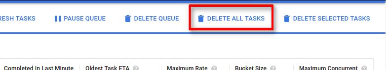 """O botão """"Excluir todas as tarefas"""" limpa todas as tarefas da fila."""