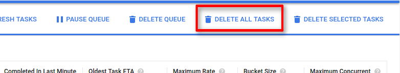 The   Delete all tasks button purges all tasks from the queue.