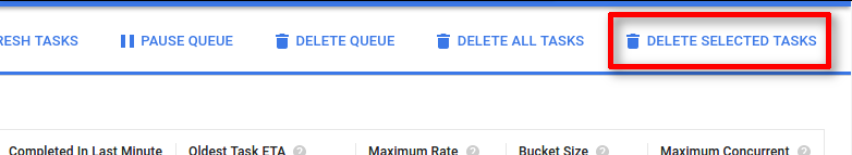 The Delete   selected tasks button is the last in the list of actions at the top   right of the page.