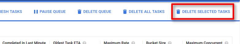 """O botão """"Excluir tarefas selecionadas"""" é o último na lista de ações no canto superior direito da página."""