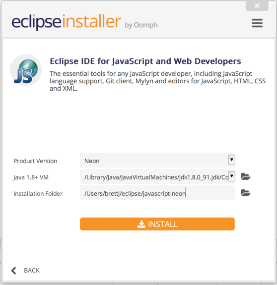 Installing Eclipse with the Eclipse installer. Screenshot.