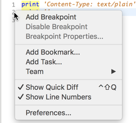 The context menu that displays when right clicking on the line   number in Eclipse. Screenshot.