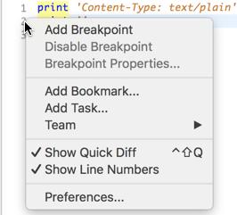 O menu de contexto exibido quando se clica com o botão direito do mouse no número da linha no EclipseCaptura de tela.