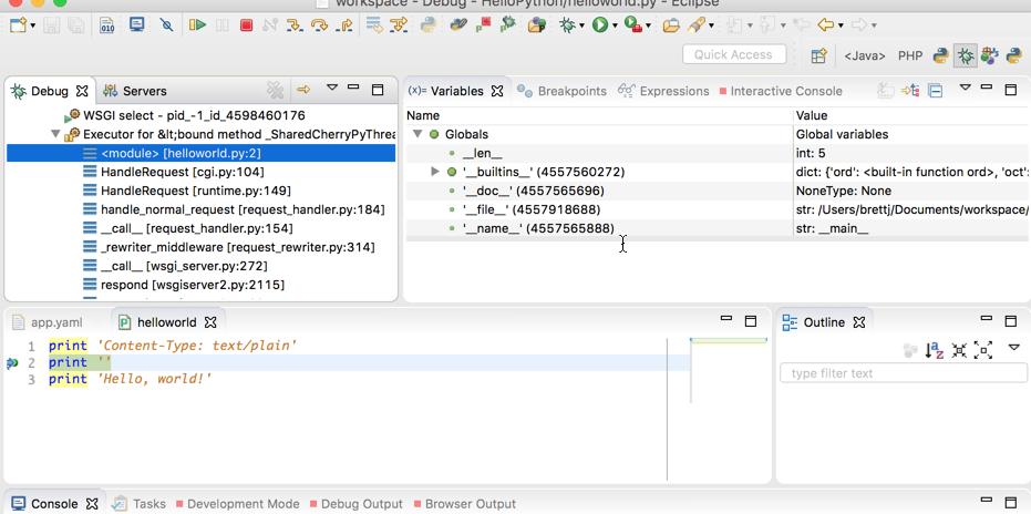 デバッグモードの Eclipse IDE のスクリーンショット。さまざまなデバッグビューが表示されています。