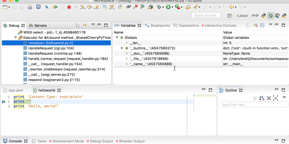 Uma captura de tela completa do Eclipse IDE no modo de depuração com as diversas visualizações de depuração.