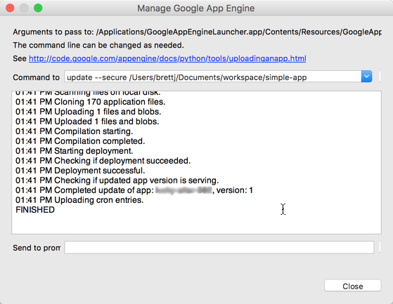 Captura de pantalla del cuadro de diálogo que confirma que los pasos de carga se completaron de forma correcta