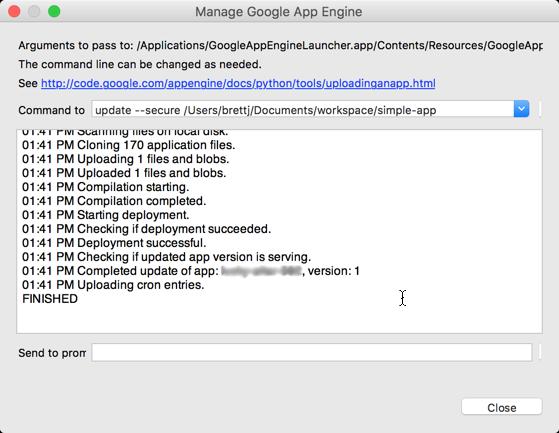 Captura de tela da caixa de diálogo confirmando as etapas de upload e o êxito