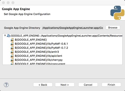 Especifique o local do SDK do App Engine ao criar o projeto.Captura de tela.
