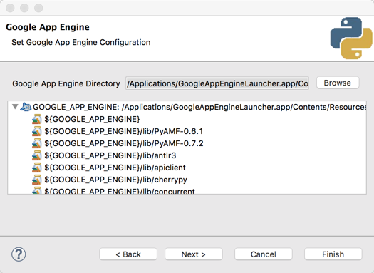 Specify the App Engine SDK location when creating your project. Screenshot.
