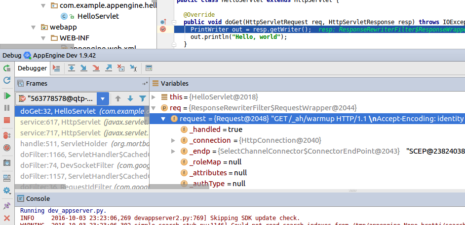 Screenshot of IntelliJ IDEA showing the debug window with the      code processing halted on a line and the variable context at that point      in the code execution.