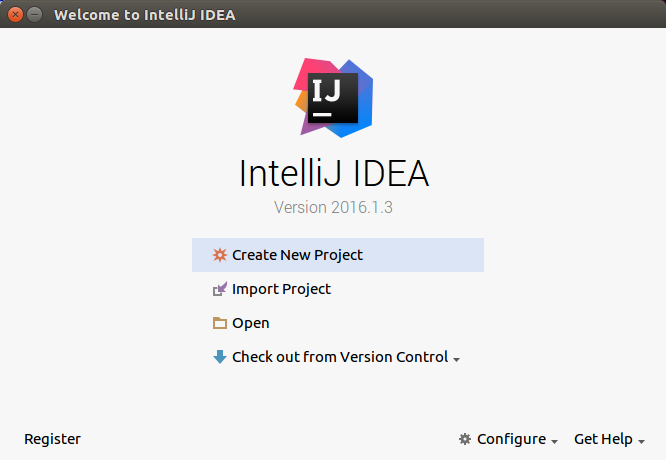 Screenshot of the Welcome to IntelliJ IDEA dialog, which offers      the ability to create a project or select an existing project.