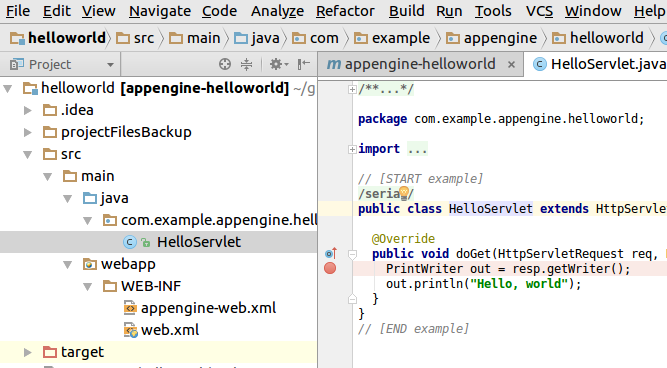 Screenshot showing a breakpoint set next to a line of code.