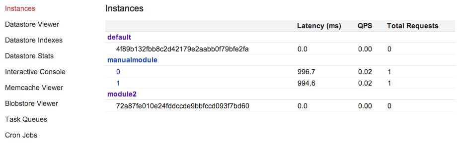 Captura de tela do console de administração do dev_appserver