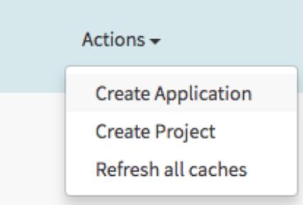 """Menu déroulant avec l'option """"Create Application"""" (Créer une application)"""
