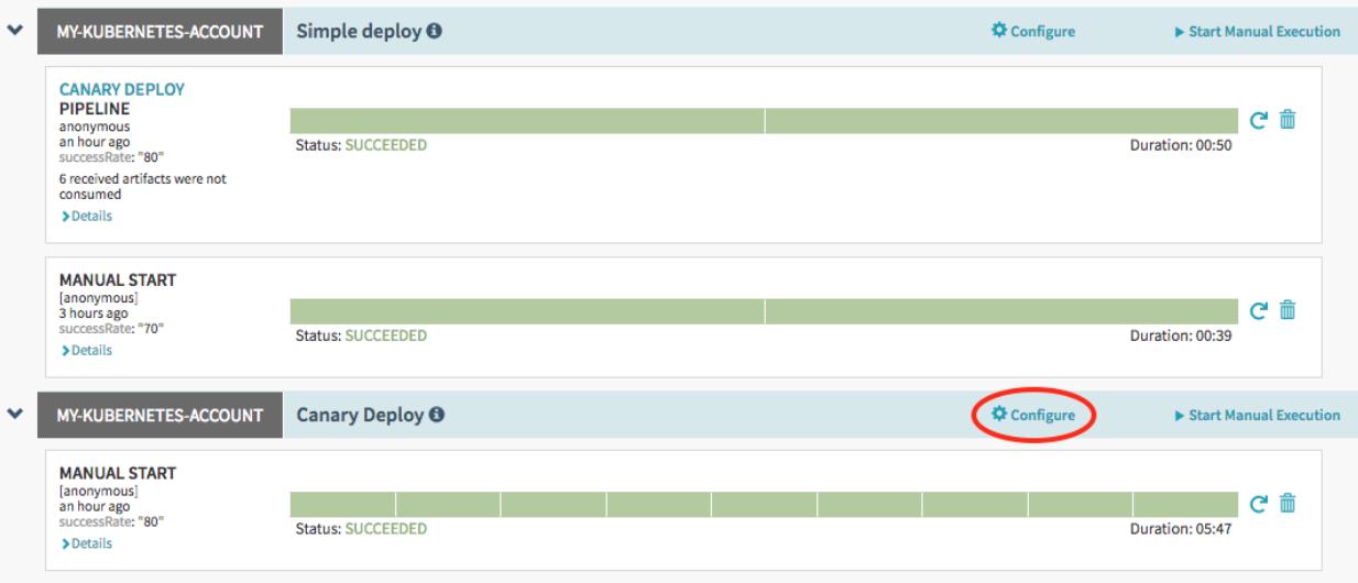 """Capture d'écran du bouton """"Configure"""" (Configurer) du pipeline """"Canary deploy"""" (Déploiement Canary)"""