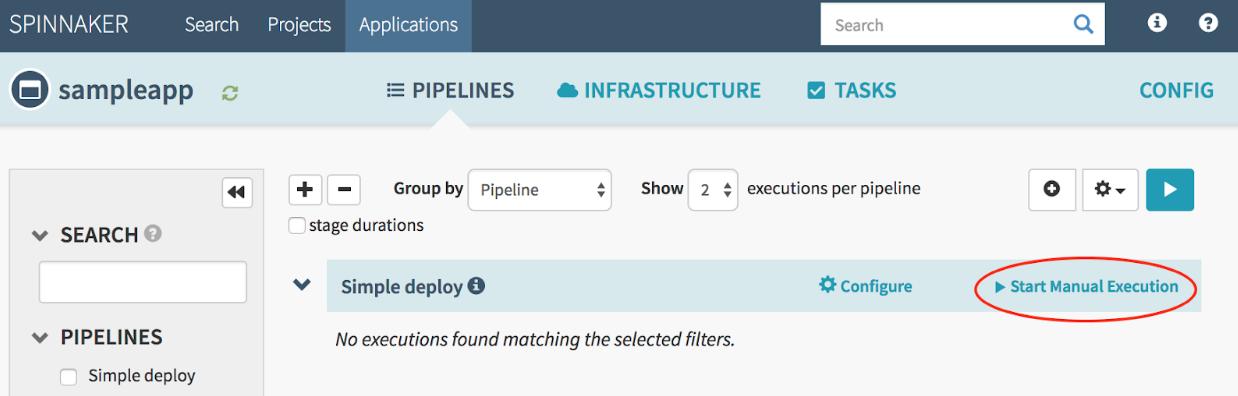 """Bouton """"Start Manual Execution"""" (Démarrer l'exécution manuelle) du pipeline """"Simple deploy"""" (Déploiement simple)"""