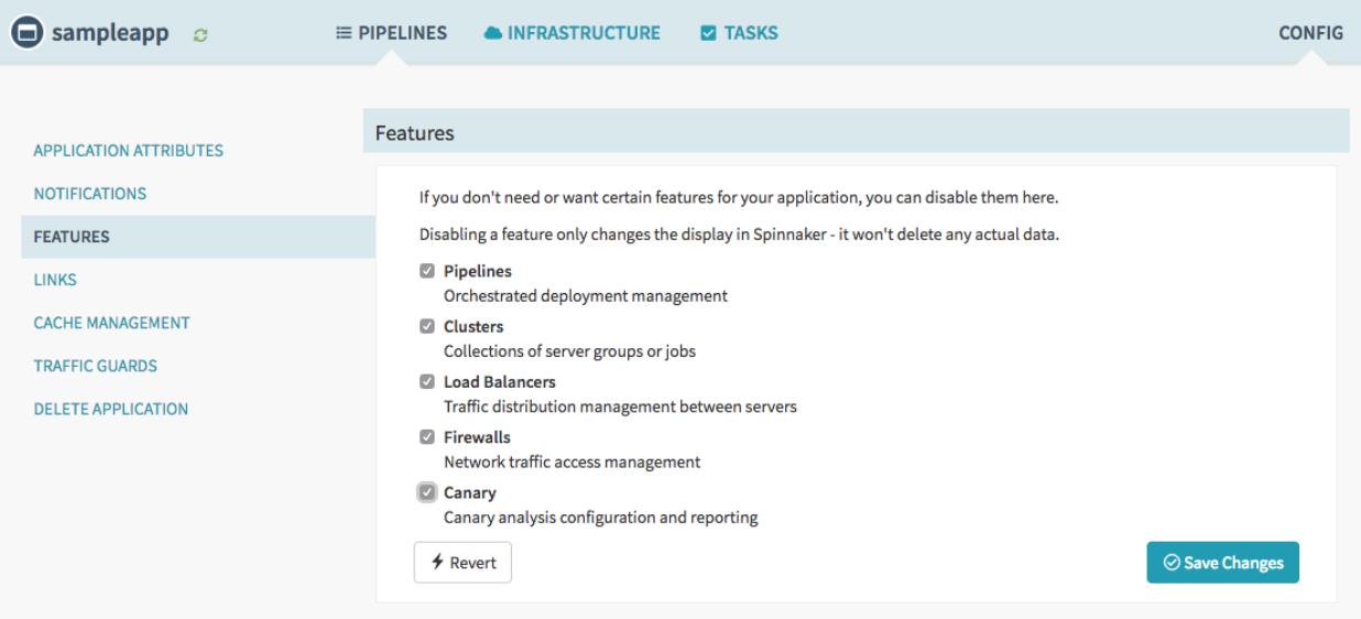 Captura de pantalla de las características de la canalización