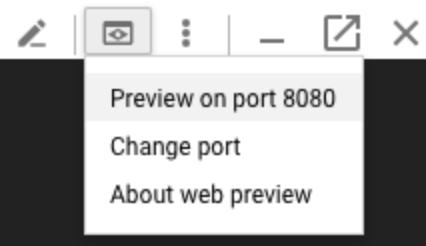 Opção de reinicialização do Cloud Shell no menu