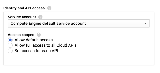 Capture d'écran des options permettant de définir un niveau d'accès dans la console GCP