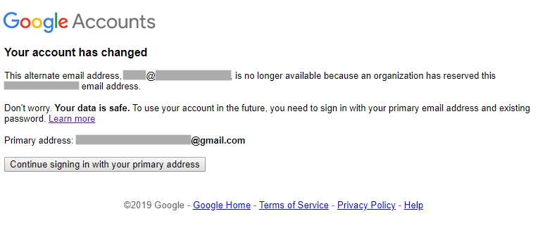 Message after signing in with corporate email address.