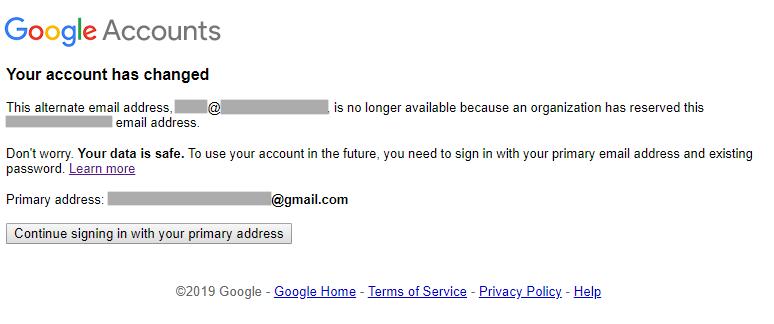 Mensagem depois de fazer login com endereço de e-mail corporativo.