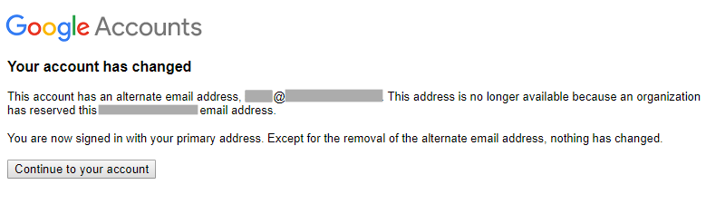 회사 이메일 주소가 사용자 계정으로부터 연결 해제되었습니다.