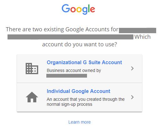 ユーザーが競合するアカウントでログインを試みたときに表示される選択画面。