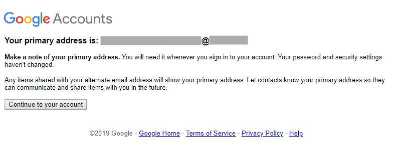 Screenshot: Meldung, dass die primäre Adresse geändert wurde