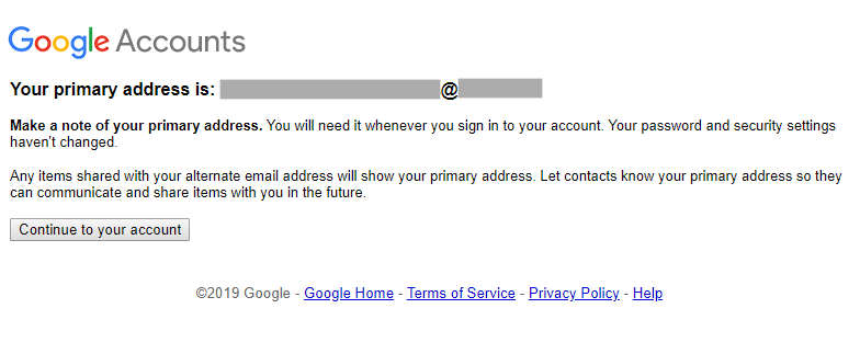 Message showing that the primary address has changed.