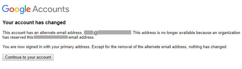 表明您的帐号已更改的消息。