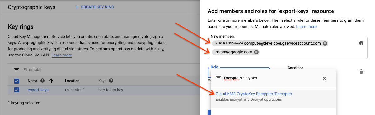 暗号化と復号のロールを追加します。