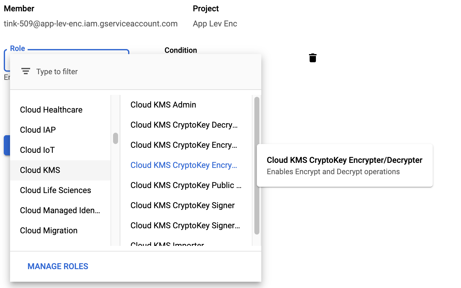 Adding an IAM role in the Cloud Console.
