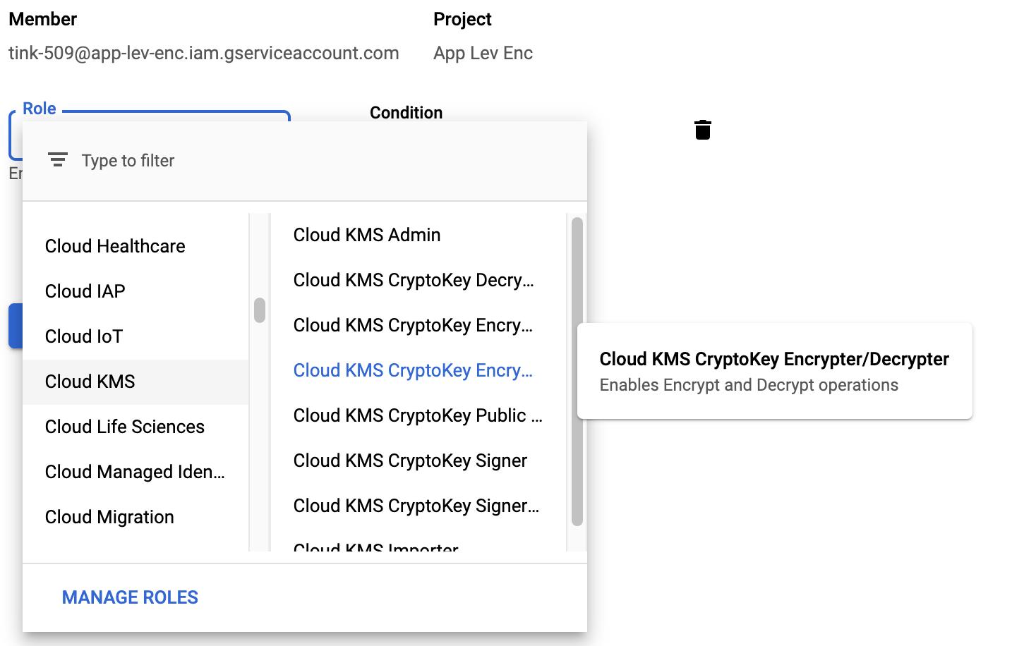 在 Cloud Console 中添加 IAM 角色。