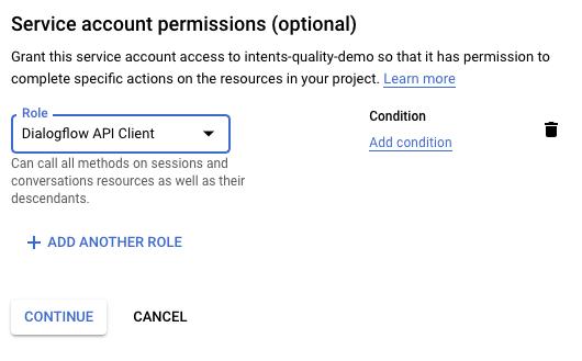 """Captura de tela com a caixa de diálogo """"Permissões da conta de serviço"""""""