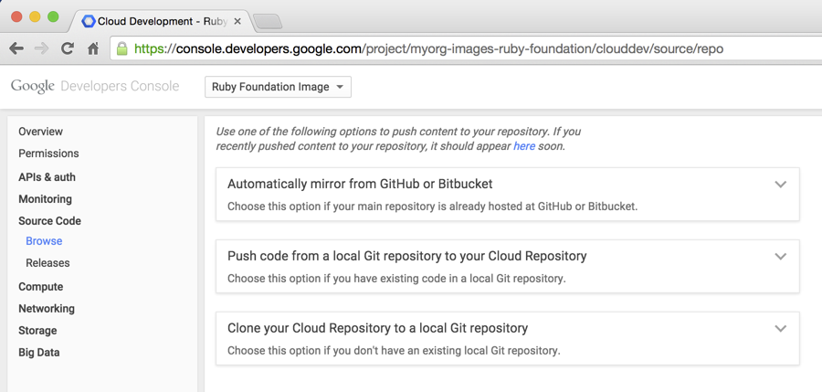 A screen image of how to browse source code with the       Cloud Console.