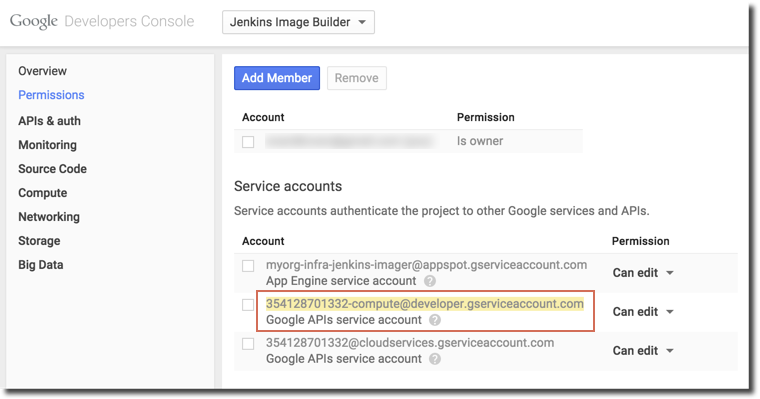 プロジェクトの権限セクションからコピーするアドレス。