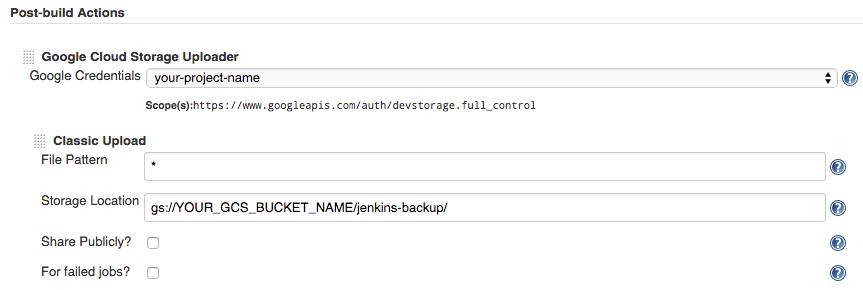 Interface de définition des actions post-build.
