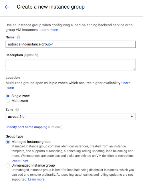 'Create instance group' page showing the 'Managed instance group' option selected